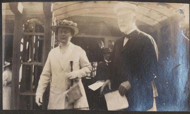 Dr. Jacob Neelands & Catherine Langton Neelands leaving the Dedication Service Sturgeon Point Union Church, 11 July 1915