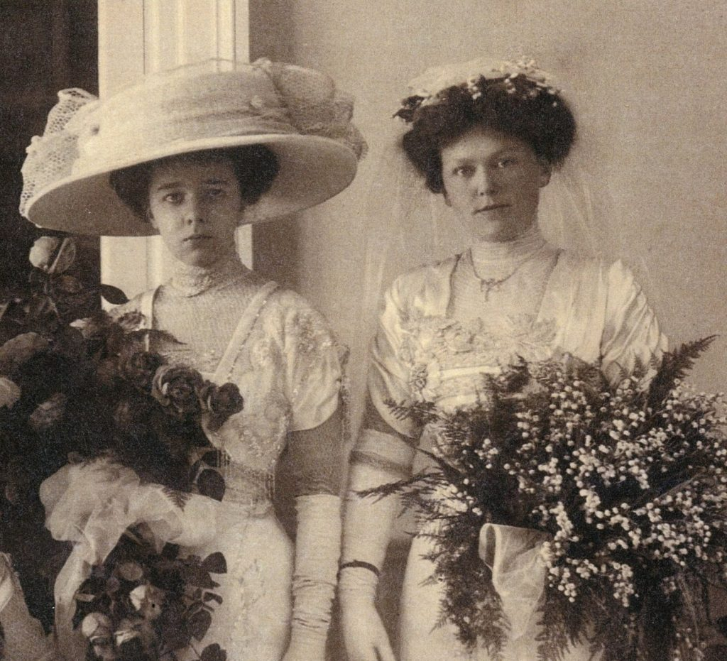 Wedding picture of Mina Flavelle Barrett with her bridesmaid on the left Valda Bonnick.